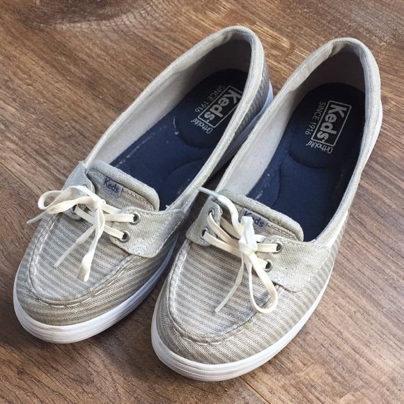 ddd716b7 Keds Shoes - Keds silver striped boat shoes